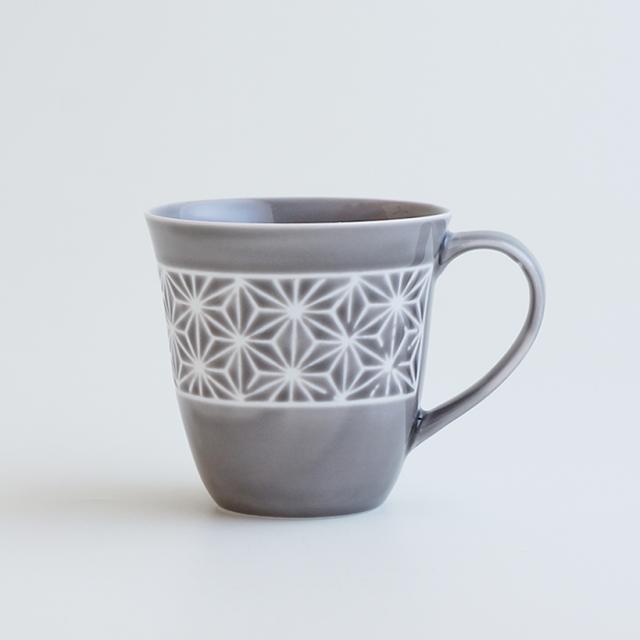 波佐見焼 一誠陶器 色麻の葉 マグカップ グレー