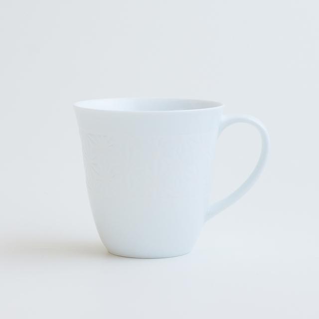 波佐見焼 一誠陶器 色麻の葉 マグカップ 白