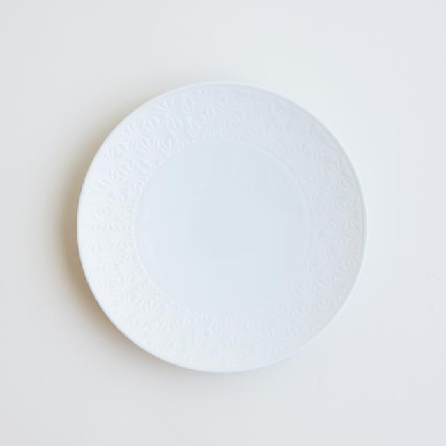 波佐見焼 一誠陶器 色麻の葉 プレート 白
