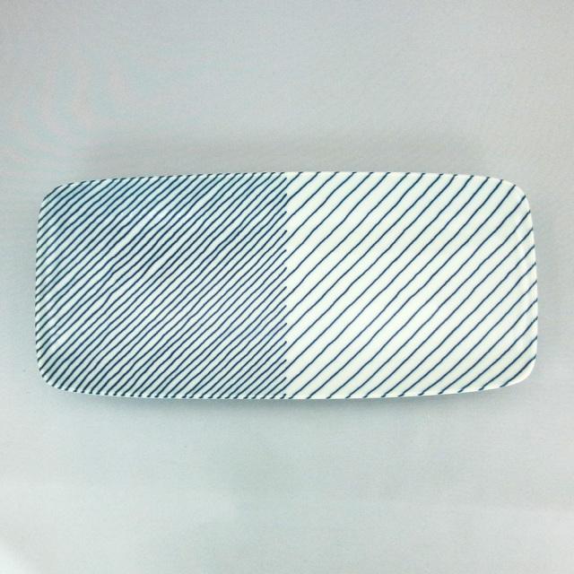 白山陶器 重ね縞 長焼皿