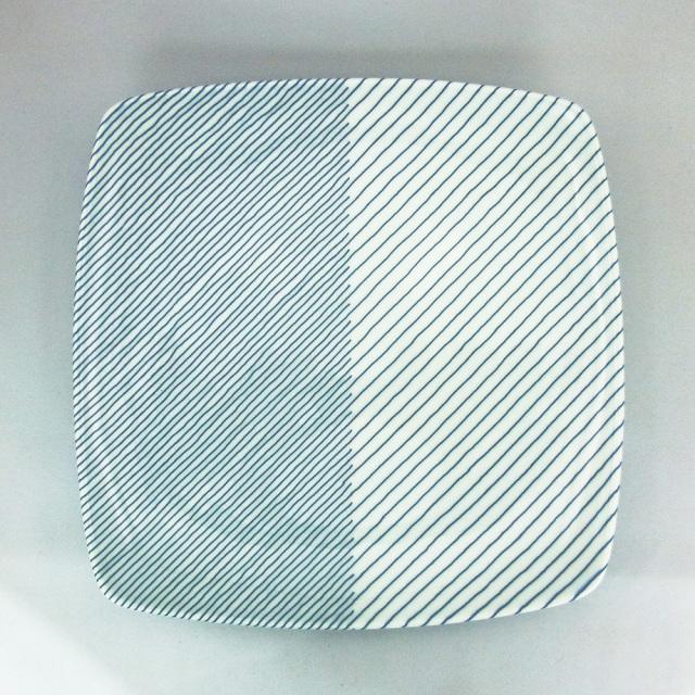 白山陶器 重ね縞 反角盛皿