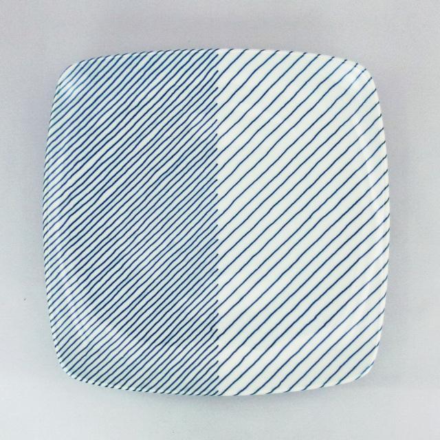 白山陶器 重ね縞 反角多用皿