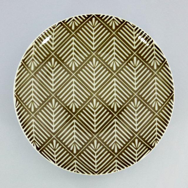 波佐見焼 和小紋 松葉 取皿(茶)