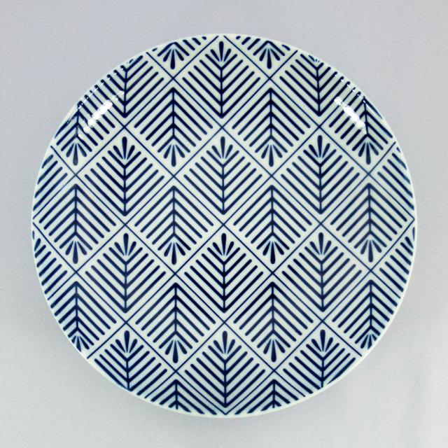 波佐見焼 和小紋 松葉紋 取皿(青)
