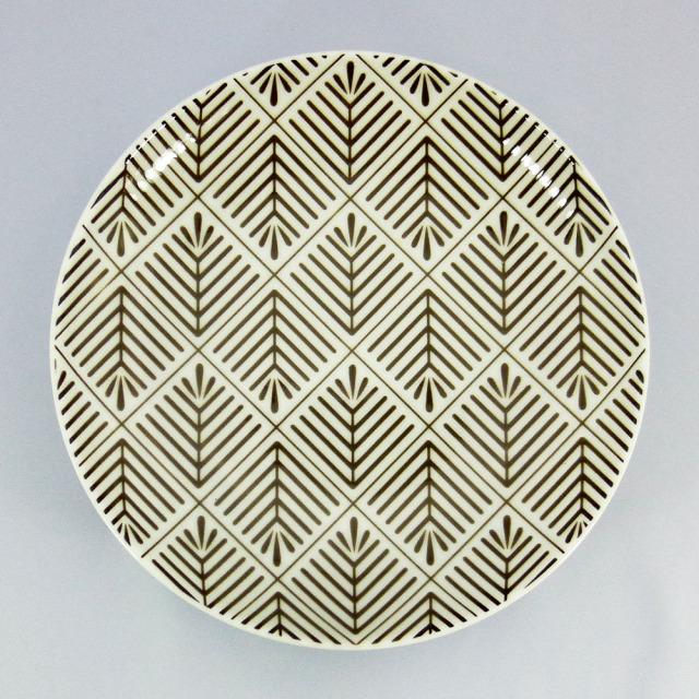 波佐見焼 和小紋 松葉紋 取皿(茶)