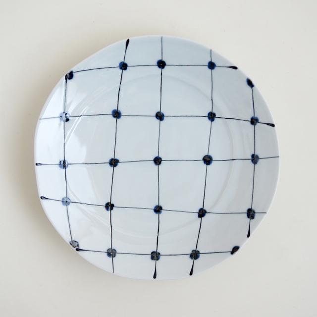 点格子丸皿