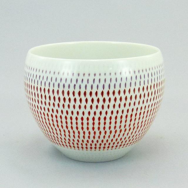 波佐見焼 一真窯 色彩カンナ 丸カップ(赤)