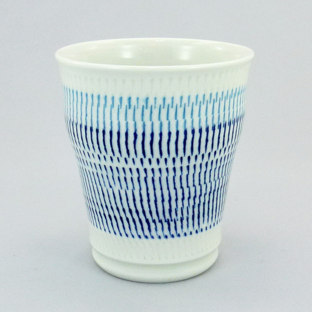 波佐見焼 一真窯 色彩カンナ 焼酎カップ(青)