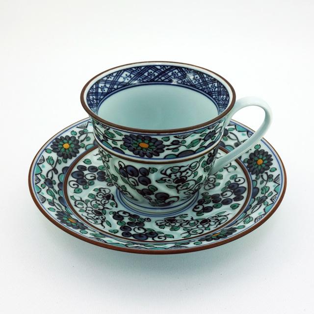 波佐見焼 錦草花紋 コーヒー碗皿(青)