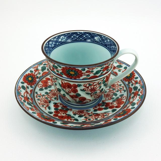 波佐見焼 錦草花紋 コーヒー碗皿(赤)