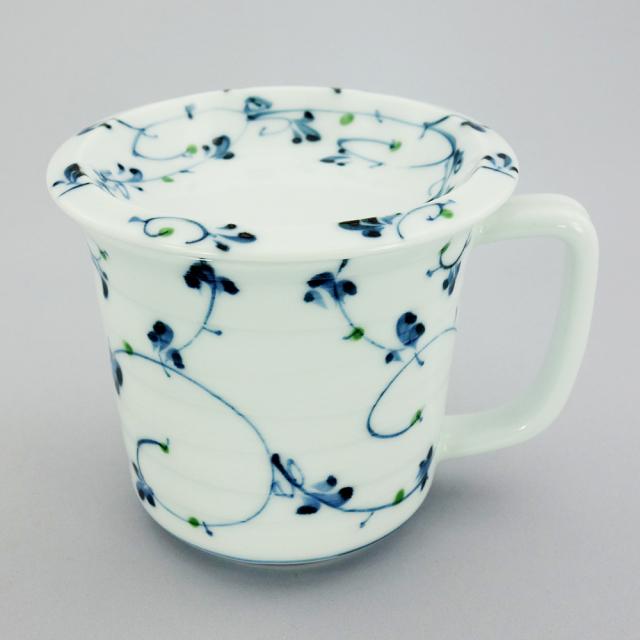波佐見焼 一誠陶器 点彩唐草 蓋付マグカップ(緑)