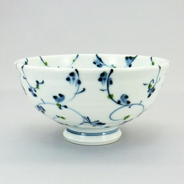 波佐見焼 一誠陶器 点彩唐草 飯碗(大)
