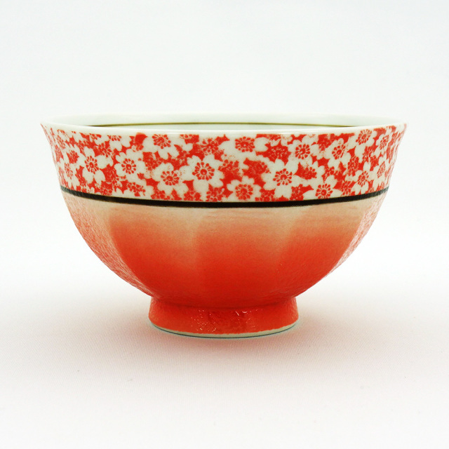 波佐見焼 吹き小桜 飯碗(赤)