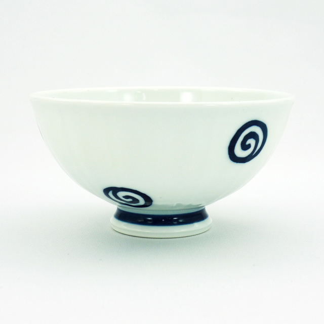 波佐見焼 面取渦 軽量飯碗(大)