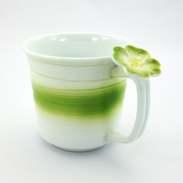 波佐見焼 花クローバー 軽量マグカップ(緑)