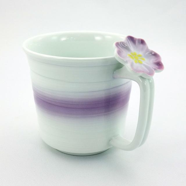 波佐見焼 花クローバー 軽量マグカップ(紫)
