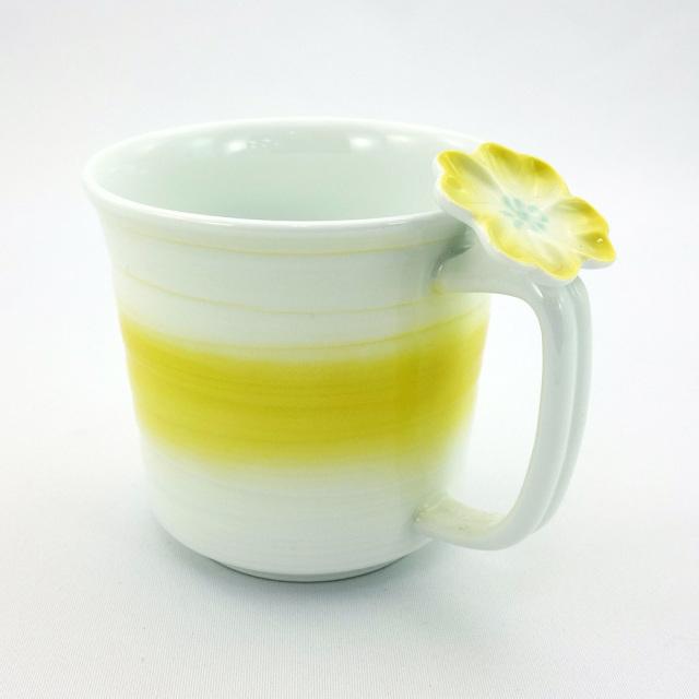 波佐見焼 花クローバー 軽量マグカップ(黄)