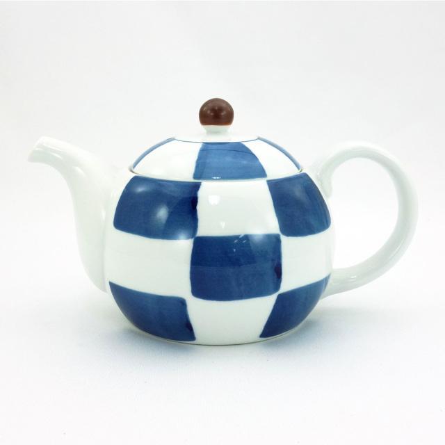 波佐見焼 市松 ポット(ステンレス茶こし付)