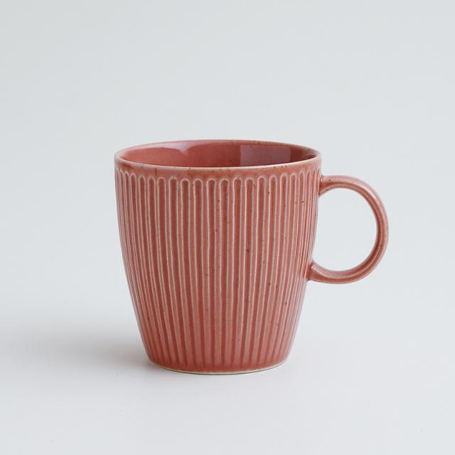 波佐見焼 一誠陶器 浮彫 マグカップ 赤
