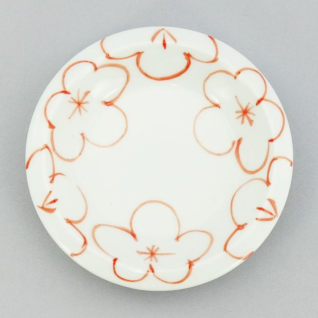 波佐見焼 一誠陶器 梅紋 シェイプ小皿(赤)