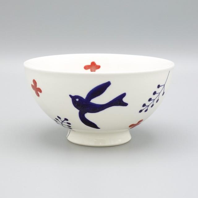 有田焼 喜鶴製陶 釉彩バード 飯碗 赤