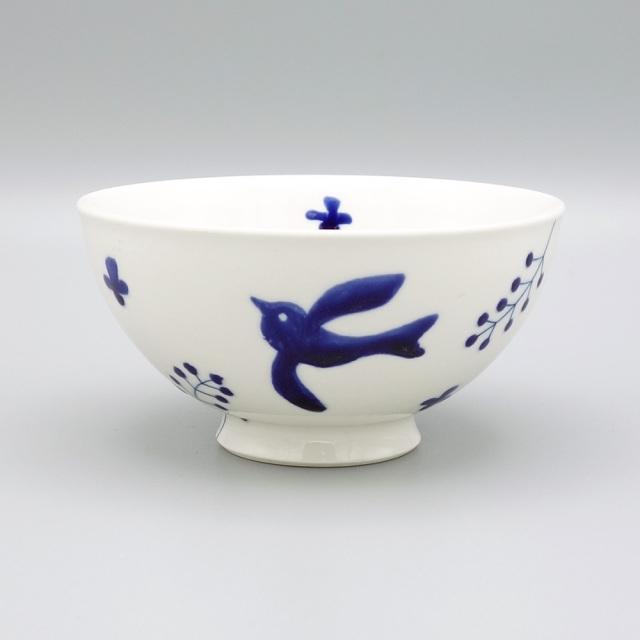 有田焼 喜鶴製陶 釉彩バード 飯碗 青