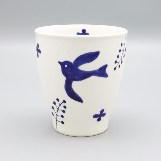 有田焼 喜鶴製陶 釉彩バード 湯呑 青
