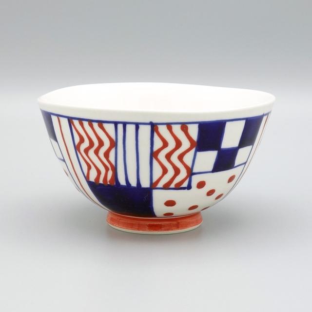 有田焼 喜鶴製陶 釉彩幾何紋 飯碗 赤