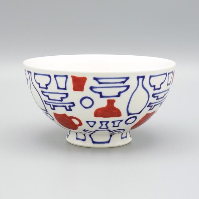 有田焼 喜鶴製陶 釉彩うつわ絵 飯碗 赤