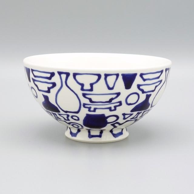 有田焼 喜鶴製陶 釉彩うつわ絵 飯碗 青