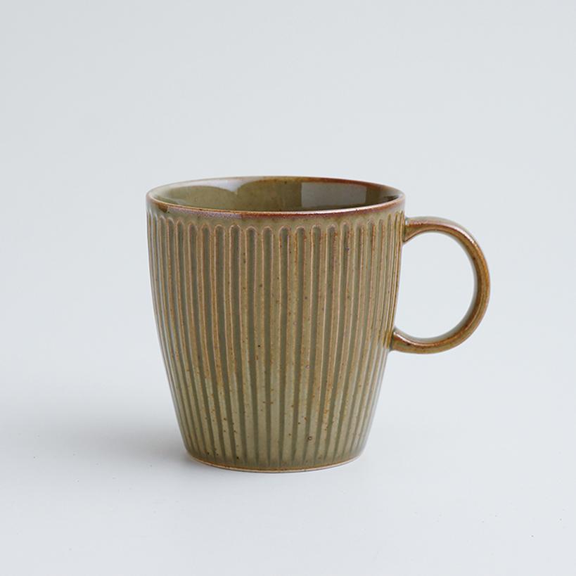波佐見焼 一誠陶器 浮彫 マグカップ 緑
