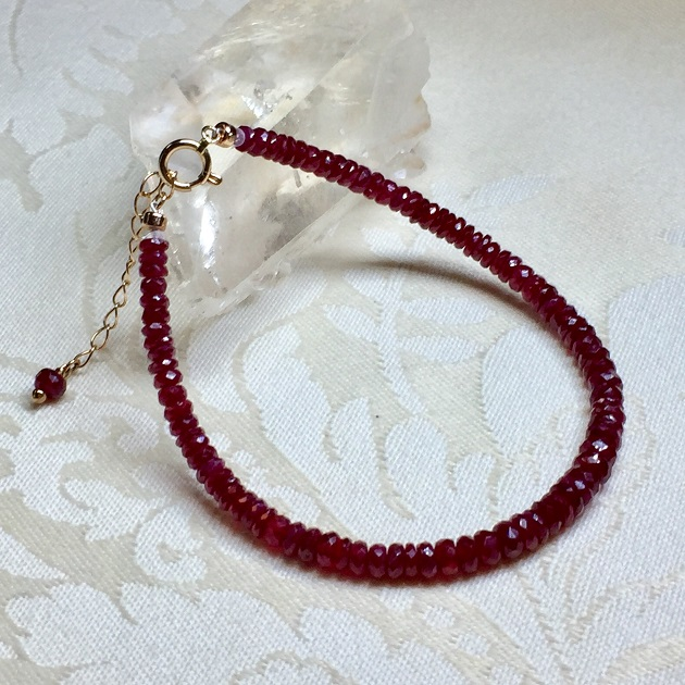 通販..ルビー,パワーストーン,天然石.ブレスレット.オーダーメイド,K18PG.宝石質