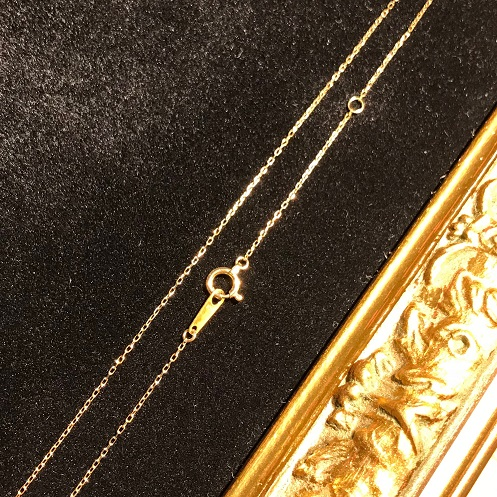 K18 18金 小豆 あずき ネックレス チェーン イエローゴールド 0.24 40cm ペンダント 金 ゴールド
