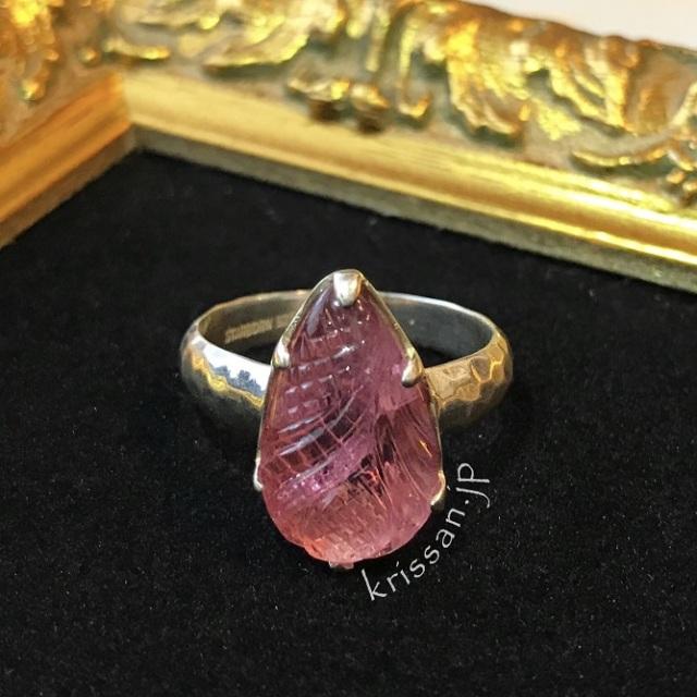 トルマリン リング 指輪 カービング 天然石 パワーストーン ピンクトルマリン 電気石 ピンク 透明 恋愛運 結婚運 健康