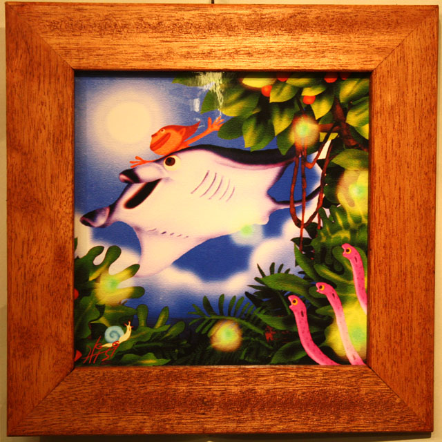 木精キジムナーのアートちび絵「雨上がりの空に/Mサイズ8番」