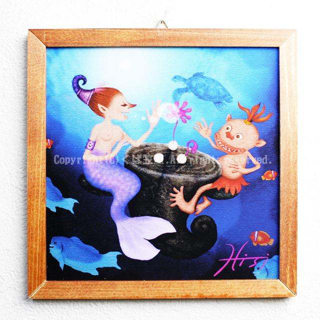 木精キジムナーのアートちび絵「人魚と花の卵/Sサイズ4番」