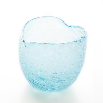 琉球ガラス/クラウドハートぐい呑みグラス・水