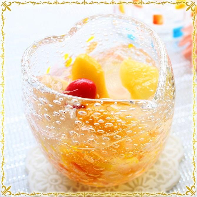 琉球ガラス「気泡の海ハートグラス」