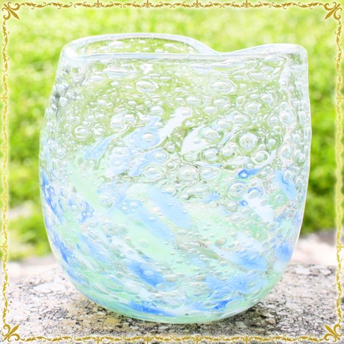 琉球ガラス「気泡の海ハートグラス/青×緑」