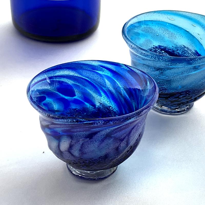 琉球ガラス/コバルトモールぐい呑み/源河