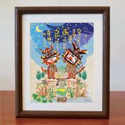 絵画 額付き 絵 壁掛け インテリア アート おしゃれ 誕生日プレゼント 島の彩Lサイズ No.034 / 星降るあうんシーサー