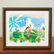 絵画 額付き 絵 壁掛け インテリア アート おしゃれ 誕生日プレゼント 島の彩Lサイズ No.042 / まーさんスイカ