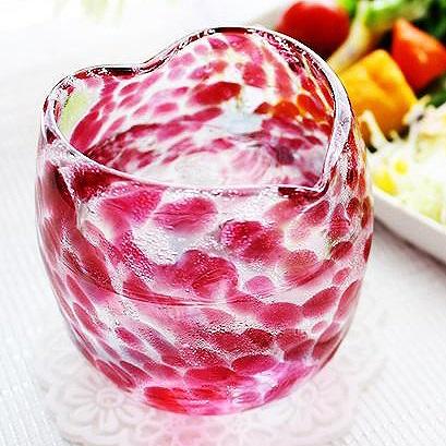 琉球ガラス「波の花ハートグラス/金赤・ピンク」