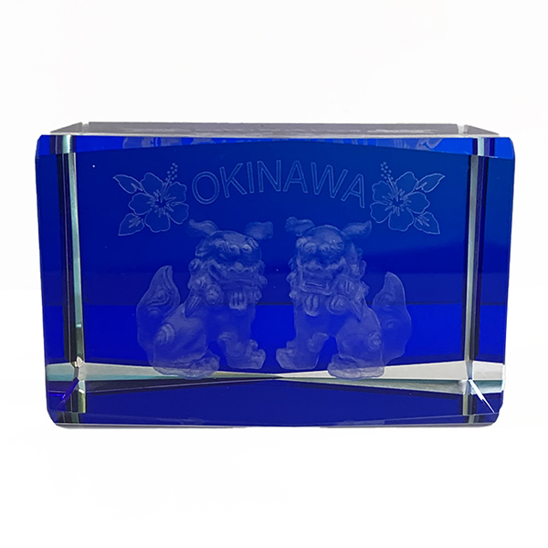 沖縄土産 シーサー 置物 ミニ 玄関 クリスタル オーナメント シーサー 空・海