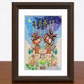 絵画 額付き 絵 壁掛け インテリア アート おしゃれ 誕生日プレゼント 島の彩Sサイズ No.034 / 星降るあうんシーサー