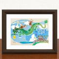 絵画 額付き 絵 壁掛け インテリア アート おしゃれ 誕生日プレゼント 島の彩Sサイズ No.037 / 空飛ぶ龍の島