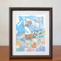 絵画 額付き 絵 壁掛け インテリア アート おしゃれ 誕生日プレゼント 島の彩Mサイズ No.022 / 水中散歩