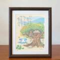 絵画 額付き 絵 壁掛け インテリア アート おしゃれ 誕生日プレゼント 島の彩Mサイズ No.028 / がじゅまるの木の上で