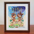 絵画 額付き 絵 壁掛け インテリア アート おしゃれ 誕生日プレゼント 島の彩Mサイズ No.034 / 星降るあうんシーサー