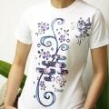 藍染風Tシャツ/水辺の蝶